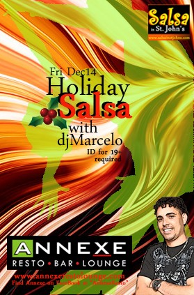 Friday Dec 14-Holiday SALSA Party @ Annexe X Lounge hosted by DJ Marcelo Public Event · By Judy D and Marcelo facebook event link --> https://www.facebook.com/events/115633318601101/
