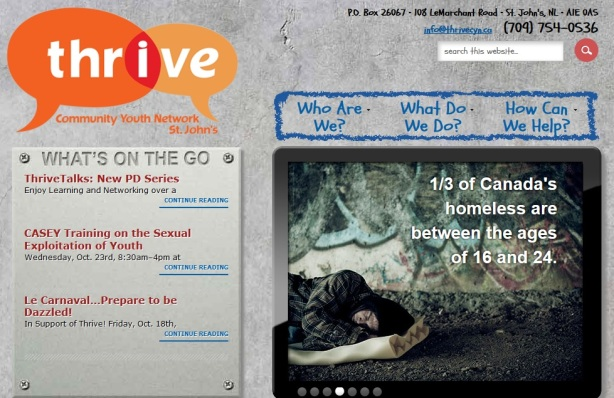 THRIVE homepage screenshot
