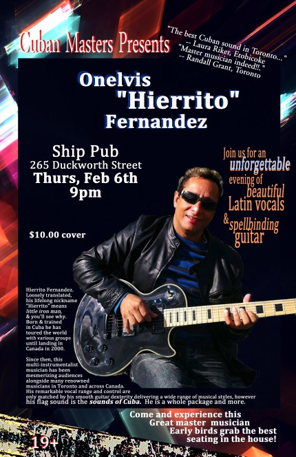 Cuban Masters Presents Onelvis Fernandez @ The Ship Thurs Feb 6th 9pm
