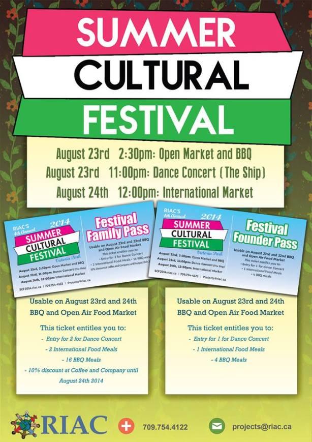 RIAC's Summer Cultural Festival - website: http://scf2014.riac.ca/